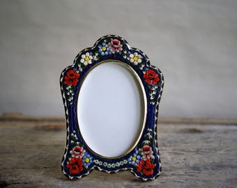 Vintage Micro Mosaic Picture Frame Flowers on a Blue Background with Glass, Delicate Floral Design