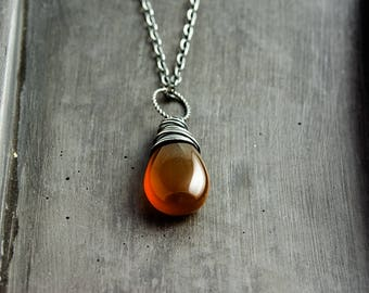 Honey Amber Necklace Chalcedony Pendant PoleStar Rust Autumn Fall