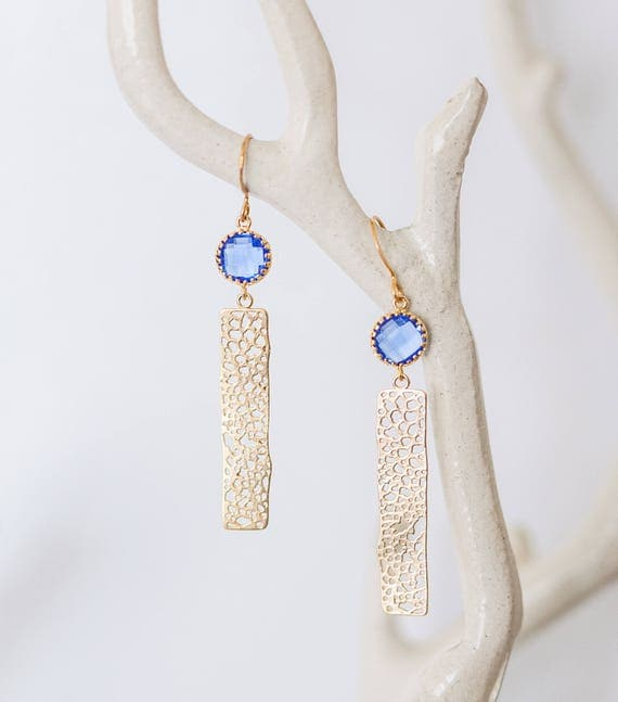 Cobalt blue gold bar earrings