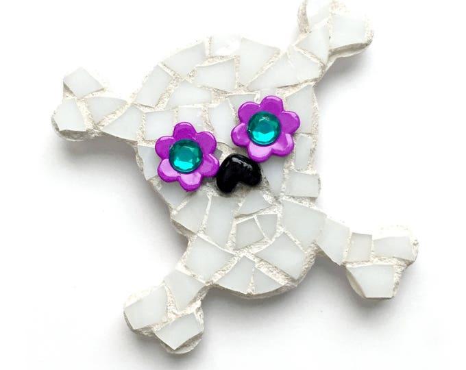 Mosaic Skull Magnet, Mosaic Magnet, Black White Purple Mosaic Sugar Skull, Handmade Mosaic Day of the Dead Magnet, Día de Muertos Magnet