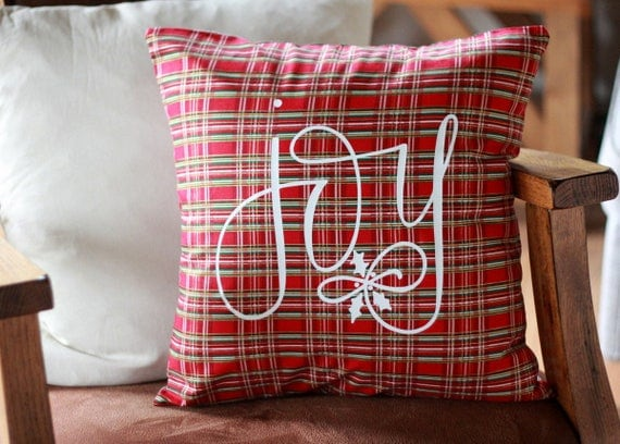 Plaid Christmas Pillow Joy Farmhouse Country Style Couch Home Decor Pillow Holly Santa Baby Hand Lettered 16 x16 Handwritten