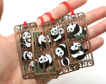 Metallic Panda Bookmarks (set of 4)