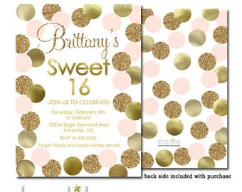 Pink and Gold Sweet Sixteen Invitation | Sweet 16 Invitation in Pink and Gold | Sweet 16 Party Invite Gold Glitter | Printable | Printed