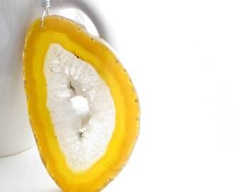 Sunshine Agate Necklace, Lemon Yellow Agate Slice Pendant, Crystal Quartz Jewelry