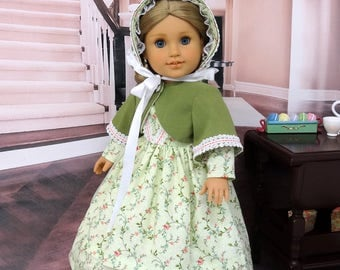 Kensington Cross - Victorian dress, jacket and bonnet for American Girl doll with undergarments and boots