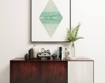 Geometric Wall Art, Modern and Minimalist Ocean Art  - Parallel Waves