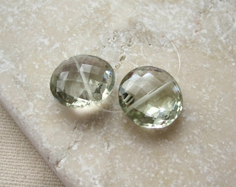 Green Amethyst Prasiolite Faceted Coin Beads 13.5mm - Matched Gemstone Pair
