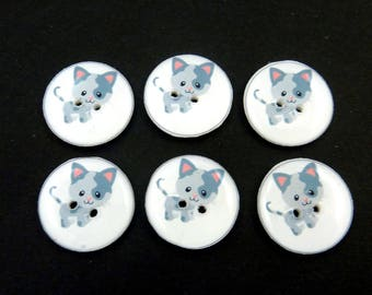 "6 Grey Cat or Kitten buttons.  3/4"" or 20 mm. Handmade by Me.  Washer and Dryer Safe."