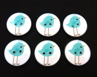 "Bird Sewing Buttons.  6 Blue Bird Handmade Buttons for sewing or knitting. 3/4"" or 20 mm."