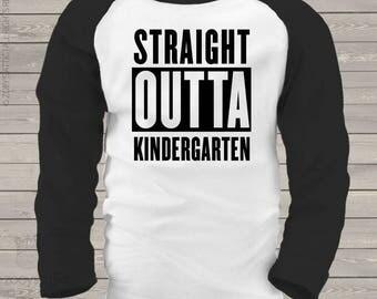 School year completion shirt - straight outta kindergarten kids raglan shirt   mscl-060-r