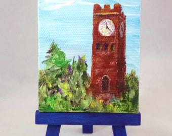 Tiny Painting of the Hudson Clocktower, 3.5 x 2.5 inches on canvas, easel included, original painting by Hudson Ohio Artist Karen Koch