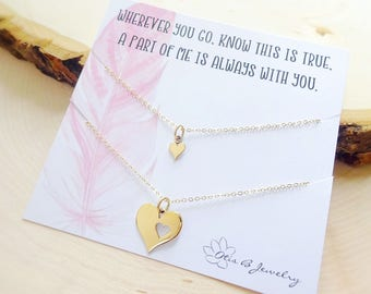 Sentimental Necklace Set for mother and daughter, Piece of my heart necklace set, heart cut out, Back to school gift, mothers day, Otis B