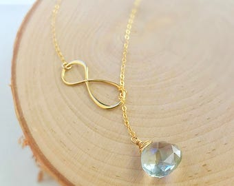 Custom gemstone lariat necklace infinity bridesmaid bridal jewelry prasiolite gold fill sterling silver Y drop plunging teardrop Otis B