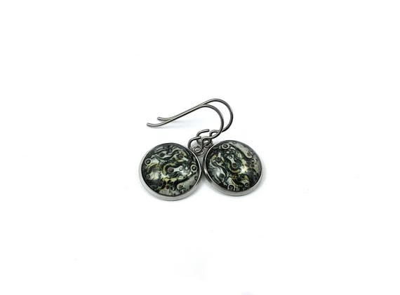Steampunk dangle earrings - Hypoallergenic pure titanium, stainless steel and glass jewelry