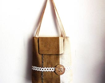 Hand Made Handbag...Shoulder Bag...Burlap Fabric Everyday Purse...Cream and Brown Color Unique Purse...