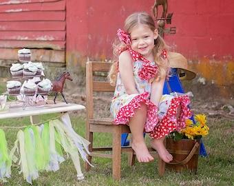 Girls Barnyard Birthday Outfit - Farm Animal - Toddler Girl Ruffle Pants - Ruffle Pants - Pillowcase Romper - Sizes 3 months  to