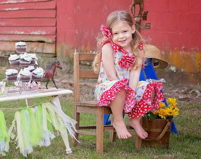 Barnyard Birthday Outfit - Farm Birthday Party - Girls Ruffle Pants - Toddler Girl Outfit - Baby Girl Outfit - Sizes 3 months to 8 years