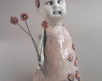 Flower Girl, creepy baby doll figurine, small doll scuplture