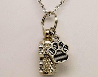 Capsule Urn with Paw Print Charm Pet Urn Necklace in Stainless Steel || Pet Ashes Keepsake || Pet Memorial Necklace