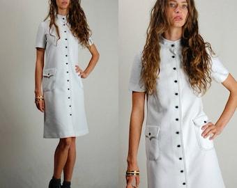 60s Mod Dress Vintage White + Navy Blue Textured Waffle Knit Button Shift Dress (s m)