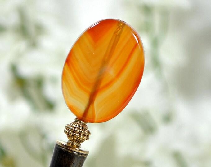 "SALE - Amber Agate Hair Stick Wood Hairstick Hair Chopstick Handmade Orange Hair Sticks Japanese Hair Pin - ""Reign"""
