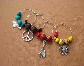 SUMMER OF '69 Wine Charms - Set of 4 drink markers - Music Themed Hippie Barware