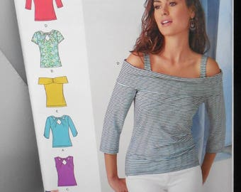 Simplicity S0994 - Sexy Summery Tops - Off-Shoulder, Peek-a-Boo, Keyhole Blouses - Size 4 - 20 - UNCUT Ladies Fashion DIY Summery, Date