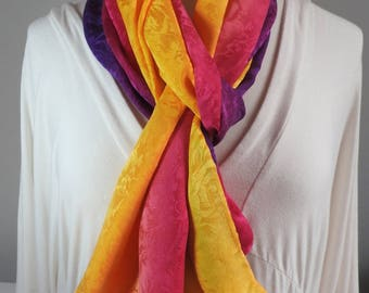 NEW FOR SUMMER! Silk Scarf, Silk Jacquard Scarf, Hand Painted 100% Silk - Golden Yellow, Fucshia, Violet Purple