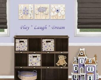 Girls Room Art Painting - Purple Sculpted Flowers on Three Canvases - Medium 32x10