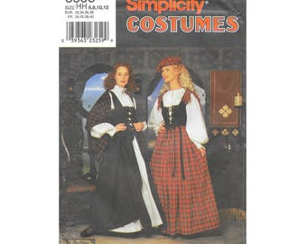 Sewing Pattern Costume - Simplicity #8855 - Size HH (6,8,10,12) - Scottish Featival Costume Sewing Pattern - 5 different costume pieces