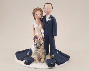 Bride & Groom Customized Police Officers Wedding Cake Topper