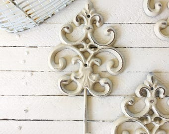 Ornate Cast Iron Wall Hook, Rustic Wall Art, Anthropologie Style, French Style Decor, Victorian Home