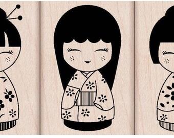 Kokeshi Girls in Kimonos Stamp set of three