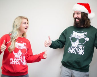 Ugly Christmas Sweater, couple sweatshirts, Meowy Christmas, cat lover gift, funny sweatshirt, matching christmas shirt, his and hers gift