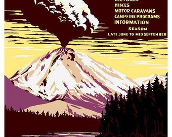 Obscure and unusual art prints of a vintage by for Lassen volcanic national park cabins