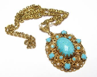 Vintage Pendant Necklace Turquoise Pendant Filigree Necklace Filigree Pendant Statement Jewelry West Germany Art Glass Collectible Jewelry