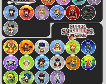 Super Smash Bros Pin Badge Buttons or Magnets | Nintendo Pixel Art 1.5""