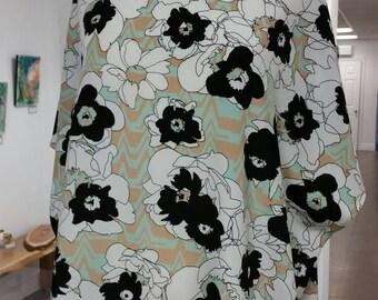 Tunique ample pure soie, trois imprimés disponibles, pois, fleurs, taille unique