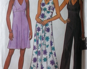 Newlook 6757 Misses Jumpsuit HalterNeck Dress Pattern Princess Seams Empire Waist  Misses sizes 8-18