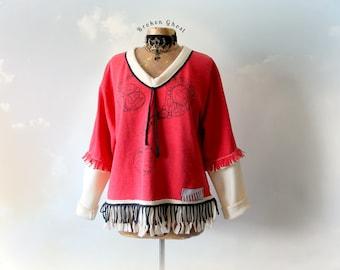 Red Fringe Shirt Tribal Clothing Women's Sweatshirt Art Sweater Bohemian Top Recycled Clothes Fleece Oversize Top Eco Friendly L XL 'JOCELYN