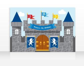 Backdrop: Medieval Castle Printable Banner Backdrop 60x40 inches, Prince Castle Backdrop Banner, Knight Castle HIGH RESOLUTION Digital File