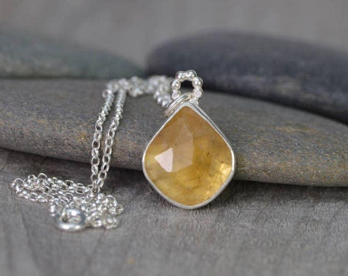 Rose Cut Yellow Sapphire Necklace, 7.35ct Sapphire Necklace, September Birthstone, Large Yellow Sapphire Necklace Handmade In The UK