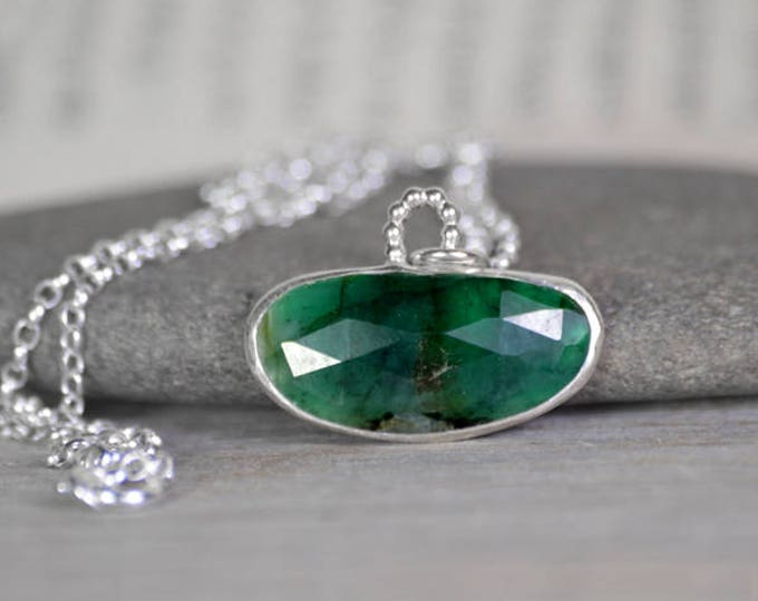Rose Cut Emerald Necklace, Emerald Necklace, May Birthstone, Large Emerald Necklace Handmade In The UK