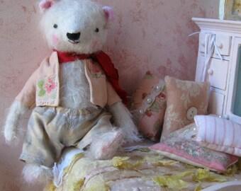 Wally -  OOAK Artist Bear - White German Mohair Collectible Teddy Bear