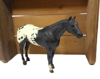Breyer Vintage APPALOOSA Model Horse Figure / Stud Spider Model 66 / 1978-89 / Black and White / Toy Collectible Animal / Western Home Decor