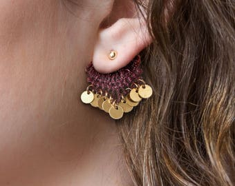 Lace ear jackets earrings - ERTH - Black, burgundy or green lace with gold or silver