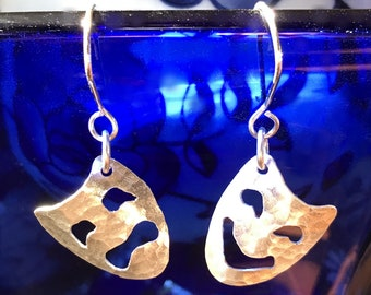 Drama Mask Earrings Theatrical Jewelry earrings Sterling drama lover gifts theater item drama gifts for actors stage managers director gifts