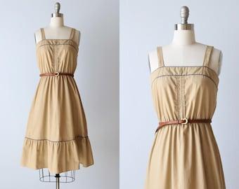 Vintage Sundress / 1980s Cotton Sleeveless Dress Size S / Khaki Tan Sundress with Elastic Waist
