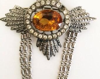 Silver & Amber Pin