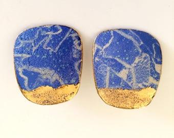 Ceramic Blue & Gold Earrings